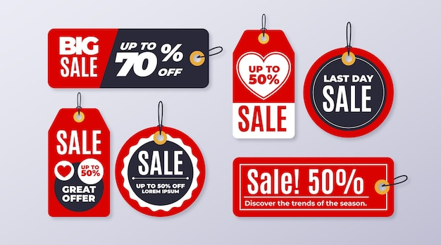 Flat design sales tag pack