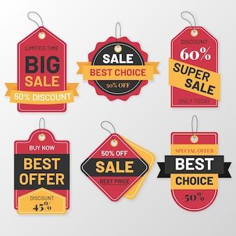 Flat design sales tag pack