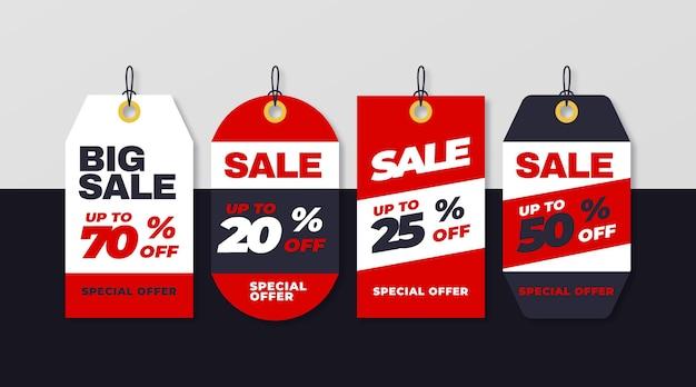 Flat design sales tag set