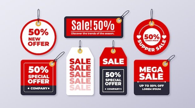 Flat design sales tag set