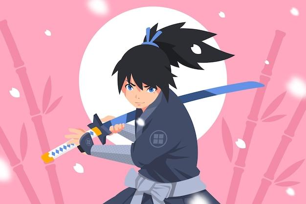 Плоский дизайн самурайского фона