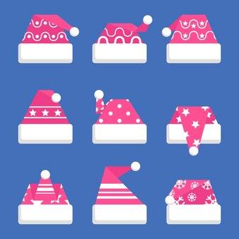 Flat design santa calus hat collection