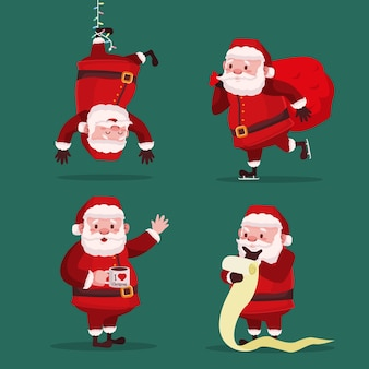 Flat design santa claus character collection