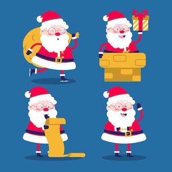 Flat design santa claus character collection