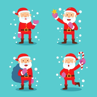 Flat design santa claus character illustration collection