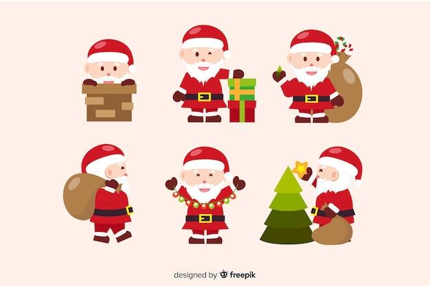 Flat design santa claus collection