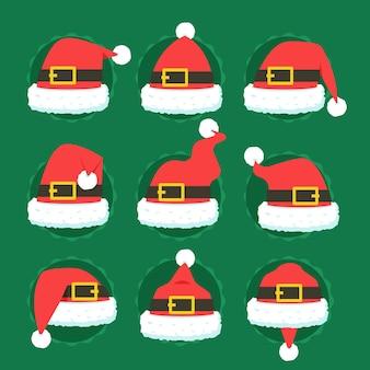 Flat design santa claus hat collection