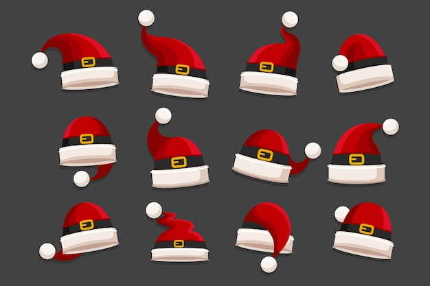 Flat design santa claus hat collection