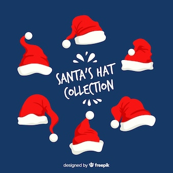 Flat design santa hat collection