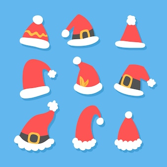 Flat design santa's hat collection