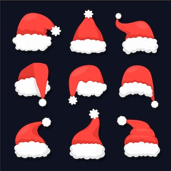 Flat design santa's hat pack