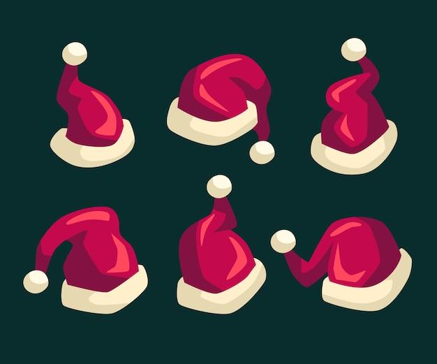 Flat design santa's hat pack