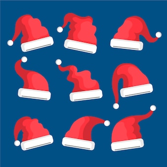 Flat design santa's hat set