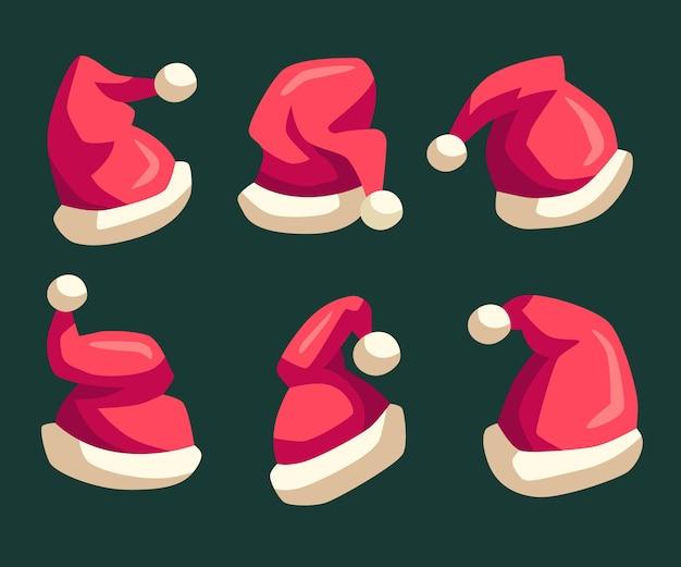 Flat design santa's hat set