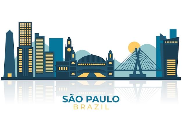 Плоский дизайн иллюстрация горизонта сан-паулу