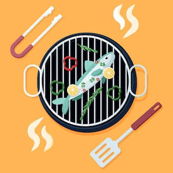 Illustrazione di sardine design piatto