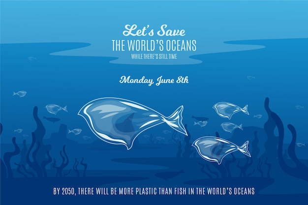 Flat design save the ocean waters