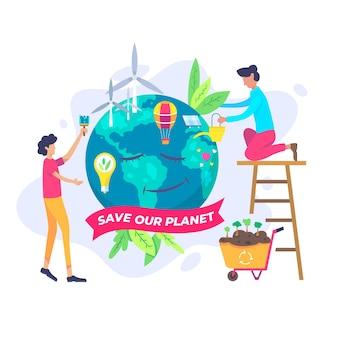 Design piatto salva l'illustrazione del pianeta