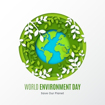 Flat design save the planet and leaves