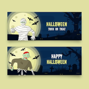 Flat design scary halloween banners set