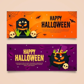 Flat design scary halloween banners