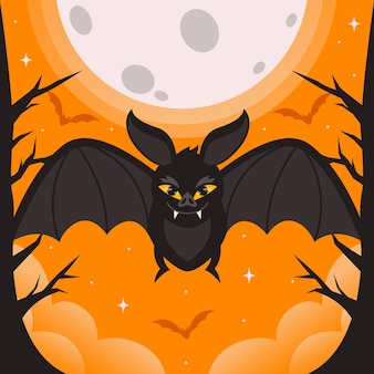 평면 디자인 무서운 할로윈 박쥐