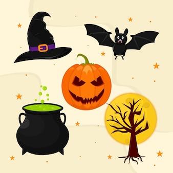 Elementi di halloween spaventosi design piatto