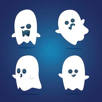 평면 디자인 무서운 할로윈 유령 컬렉션