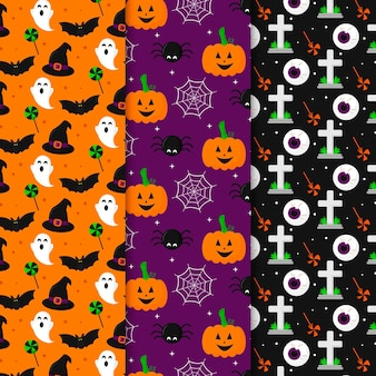 Flat design scary halloween patterns