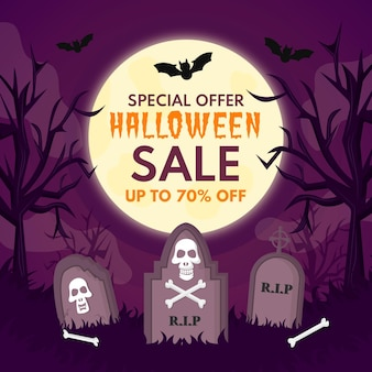 Flat design scary halloween sale illustration