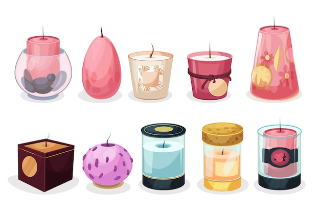 Flat design scented candle collection