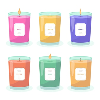 Flat design scented candle pack