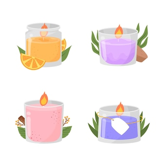 Flat design scented candle set