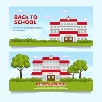 Flat design school illustration banner, back to school event