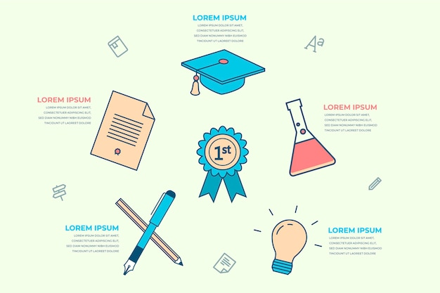 Flat design school infographics