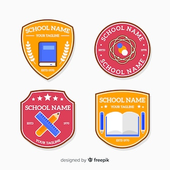 Flat design school logo collection