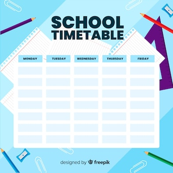 Flat design school timetable template