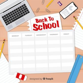 Flat design school timetable template