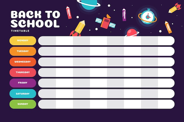 Flat design school timetable with science