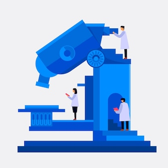 Flat design science concept with microscope and scientists
