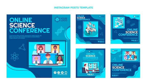 Flat design science conference instagram posts