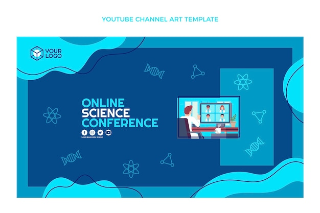 Flat design science conference youtube channel