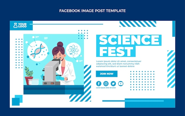 Flat design science facebook post