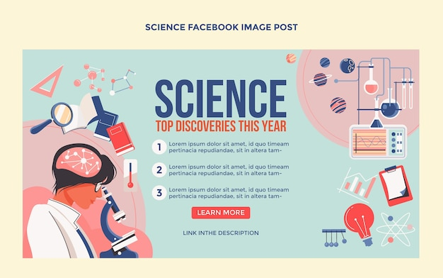 평면 디자인 과학 페이스 북 게시물