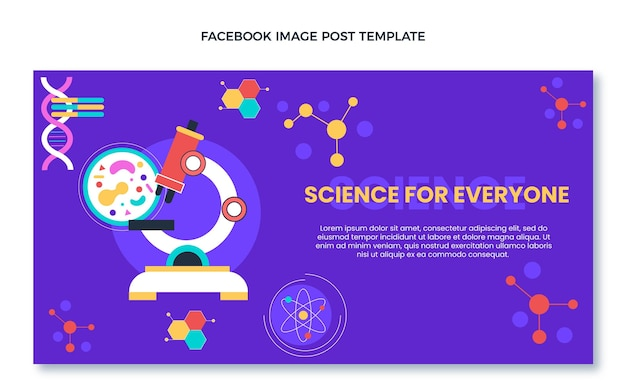 Flat design of sciencefacebook post