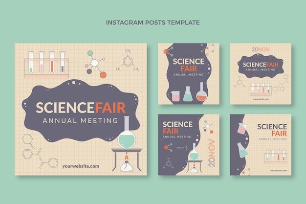Flat design science instagram posts template