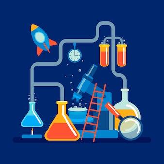 Flat design science lab concept