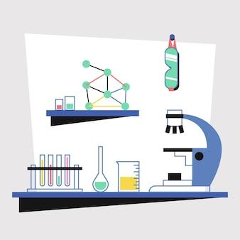 Laboratorio scientifico design piatto con elementi