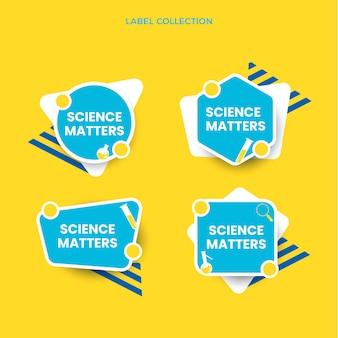Коллекция научных этикеток в плоском дизайне