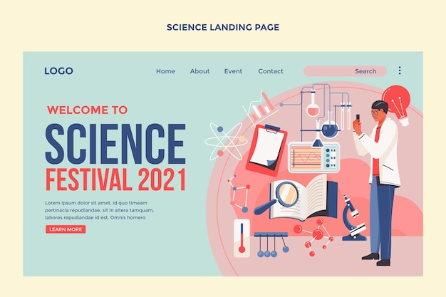 Flat design science landing page template